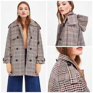ZARA Check Trench Coat